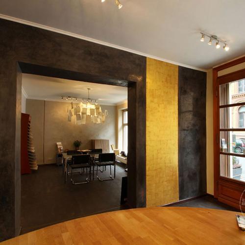 Wandgestaltung Kalkmarmorputz Goldoptik
